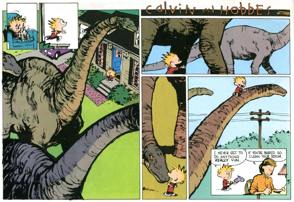 Calvin & Hobbes - bored bronto